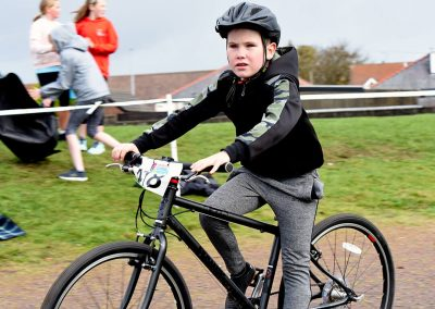 Boy participating in cycling event