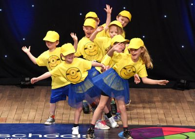 Dance group with minions t-shirts