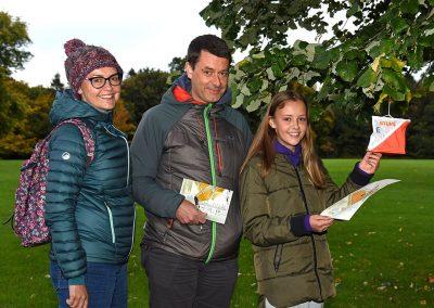 Family taking part in orienteering